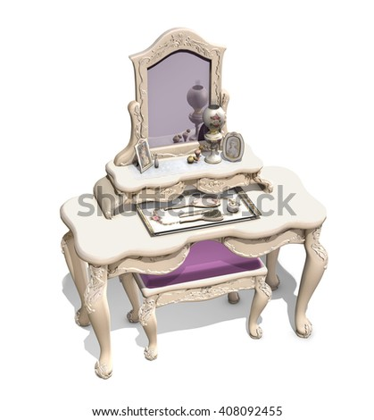 Victorian vanity isolated on white - 3d render. - stock photo