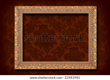Victorian wallpaper and gold antique frame