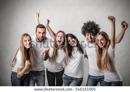 Victorious Friends - stock photo