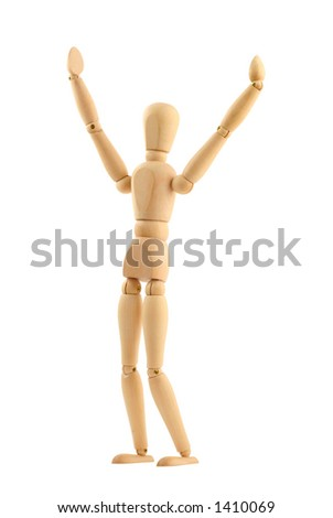 victorious man, pure white background - stock photo