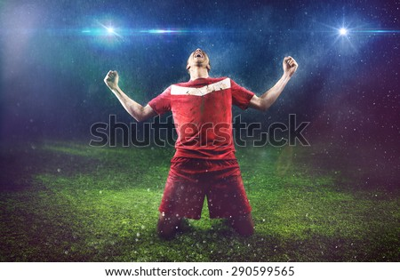 Victorious Soccer Player - stock photo