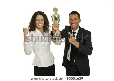 Victorious team - stock photo