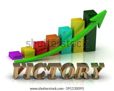 VICTORY bright of gold letters and Graphic growth and green arrows on white background - stock photo