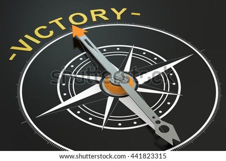 Victory compass concept, 3D rendering - stock photo