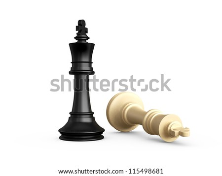 Victory, dark pawn defeats light chess piece, pawn, isolated on white background. - stock photo