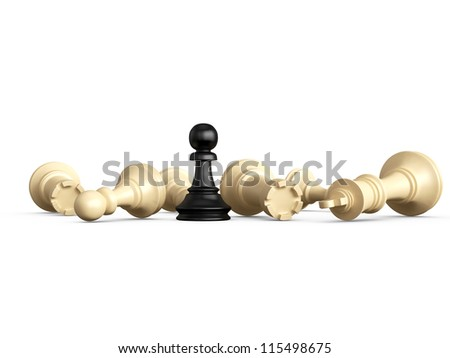 Victory, dark pawn defeats light king, rooks and pawns, isolated on white background. - stock photo