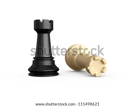 Victory, dark rook defeats light rook, isolated on white background. - stock photo