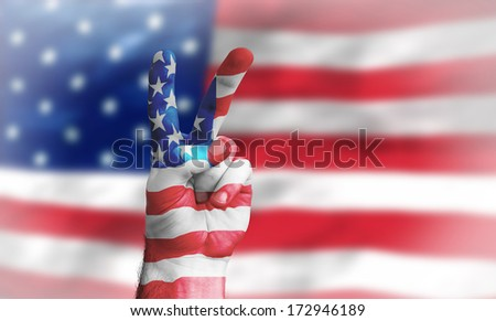 victory for the USA with US flag - stock photo