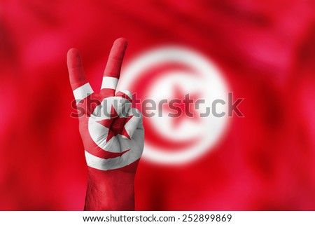 victory for Tunisia - stock photo