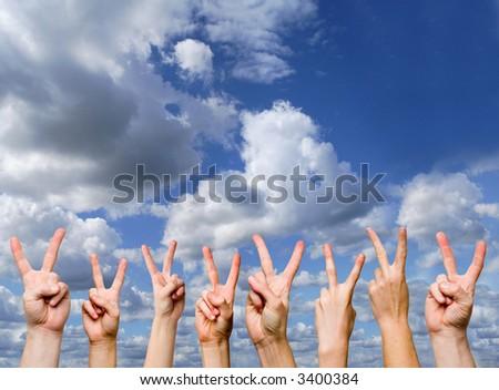 victory gestures - stock photo