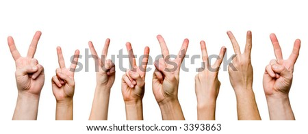 victory gestures on white background