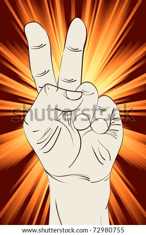 Victory hand sign clip art over exploding rays background.