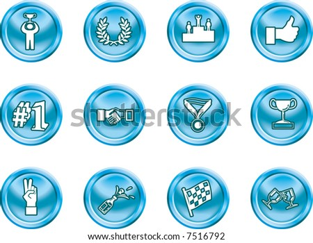 Victory Icons Victory and Success Icon Set Series Design Elements A conceptual icon set relating to victory and success. Raster version. - stock photo