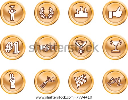 Victory Icons Victory and Success Icon Set Series Design Elements A conceptual icon set relating to victory and success. Raster version - stock photo