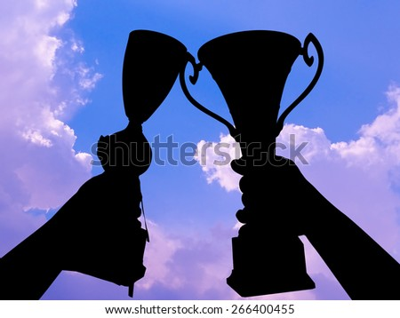 victory silhouette - stock photo