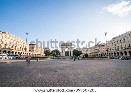 Victory square, Genoa, Italy - stock photo