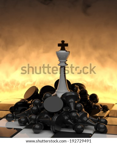 Victory! The white king on fallen enemies. - stock photo