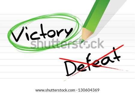 victory versus defeat selection illustration design on a notepad - stock photo