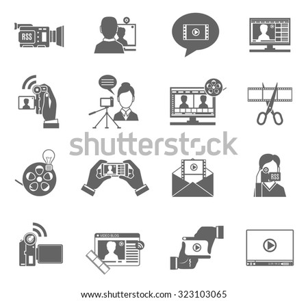 Video blog social media communication black icons set isolated  illustration - stock photo