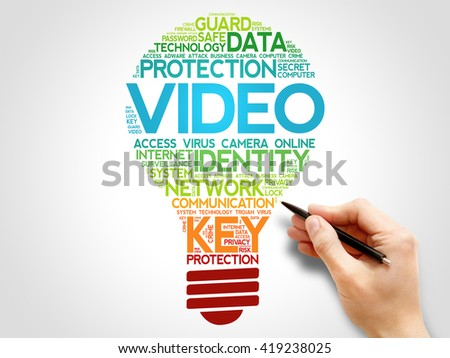 VIDEO bulb word cloud, business concept - stock photo