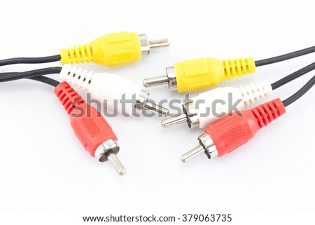 Video cables isolated on white background , - stock photo
