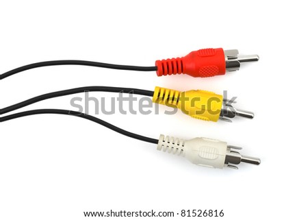 Video cables isolated on white background - stock photo