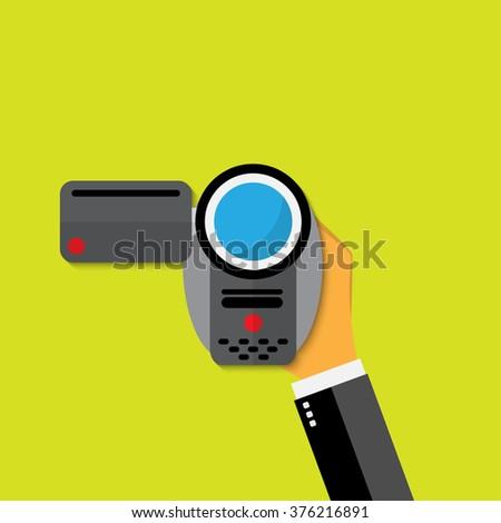Video camera flat icon illustration. - stock photo