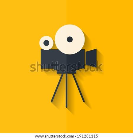 Video camera icon. Media symbol. Flat design. - stock photo