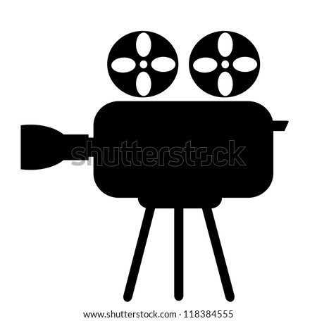 Video camera icon on a white background - stock photo