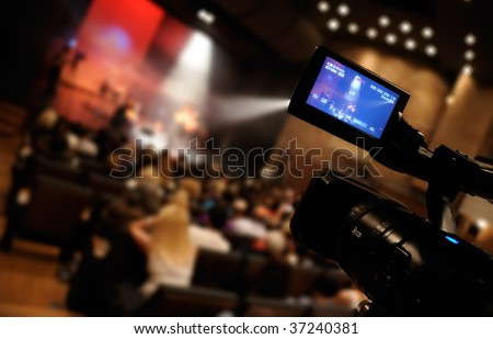 Video camera lcd display - professional HD production - stock photo