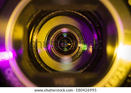 Video camera lens - stock photo