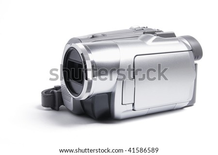 Video Camera on Isolated White Background - stock photo