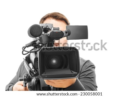 Video camera operator isolated on white background.