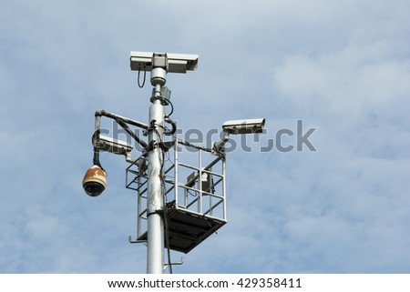 video camera security system in park