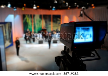 Video camera viewfinder - recording in TV studio - stock photo