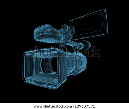 Video camera x-ray blue transparent isolated on black - stock photo