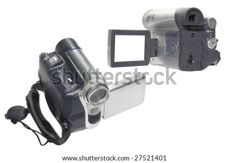 video cameras under the white background