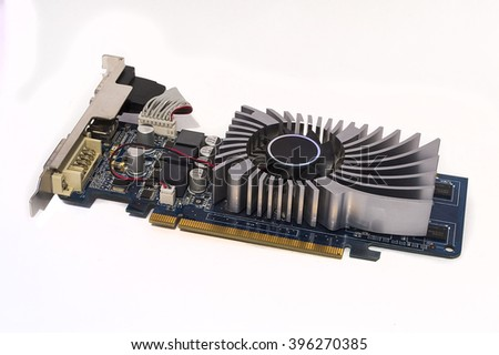 video card on a white background - stock photo