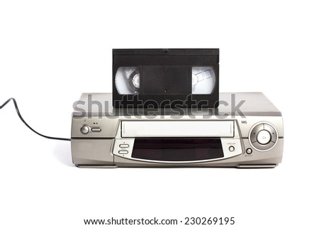 Video cassette recorder and VHS isolated on white background - stock photo