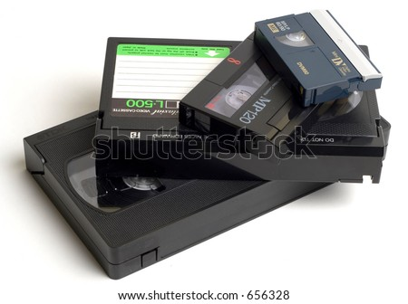 Video Cassettes (VHS, Betacam, S-VHS, MiniDV) - stock photo