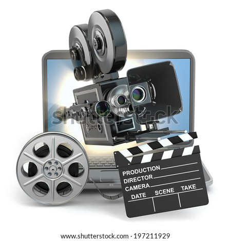 Video concept. Camera on  laptop, still reels and clapboard. 3d - stock photo