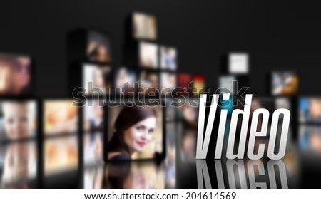 Video concept, LCD panels on black - stock photo