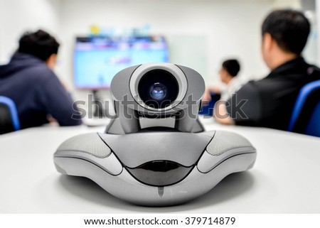 Video conference for long distance communication - stock photo