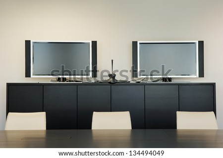 Video Conference Room With Monitors - stock photo