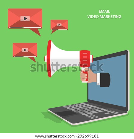 Video email marketing flat isometric concept. Mans hand with megaphone appeared from laptop and sends video emails. - stock photo