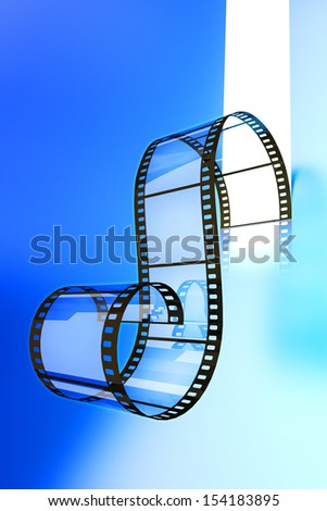 Video film strip on a blue background - stock photo