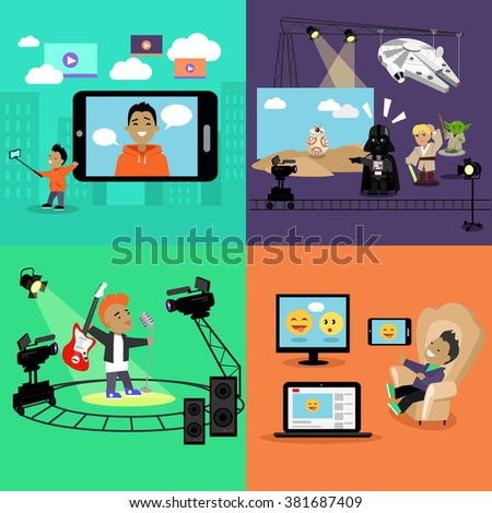 Video industry blogger filming design flat. Video blogger, caricature edition, clip music, filming and blog, social media, fashion blogger, movie cinema filming, video camera, movie film illustration - stock photo