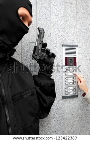 Video intercom in the entry of a house - stock photo
