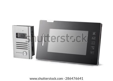 Video intercom with sensor touch screen for protecting public and private placements - stock photo