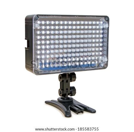 Video lighting LED, isolated on white background - stock photo